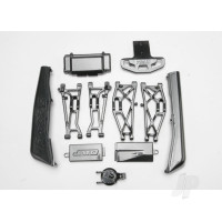Complete Exo-Carbon Kit, Jato (includes rear & mid-chassis battery covers, receiver cover, dirt guards, suspension arms, front bumper, & fuel tank cap)