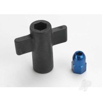 Antenna crimp nut, aluminium (blue-anodized) / antenna nut tools