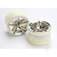 Wheels, Twin-Spoke 2.8in (chrome) (nitro rear / electric front) (2pcs)
