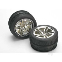 Tyres & Wheels, assembled, glued (Twin-Spoke wheels, Victory Tyres, foam inserts) (nitro front) (2pcs)