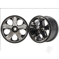 Wheels, All-Star 2.8in (black chrome) (nitro front) (2pcs)