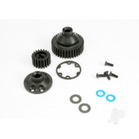 Gears, Differential 38-T (1pc) / Differential drive gear 20-T / side cover plate (1pc) / gasket (1pc) / output gear seals (x-ring) (2pcs) / 2.5x8mmCCS (4pcs) / 5x10x.5mmTW (2pcs)