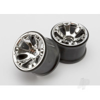 Wheels, Geode 3.8in (chrome) (2pcs) (use with 17mm splined wheel hubs & nuts, part #5353X & beadlock-style sidewall protectors, part #5665, 5666, 5667)