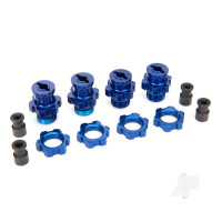 Wheel hubs, splined, 17mm, Short (2pcs), Long (2pcs) / wheel nuts, splined, 17mm (4pcs) (blue-anodized) / hub retainer M4x0.7 (4pcs) / axle pin (4pcs) / wrench, 5mm