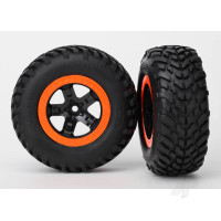Tire & wheel assy, glued (SCT black, orange beadlock wheels, SCT off-road racing tires, foam inserts) (2pcs) (2WD front)