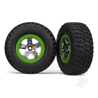 Tires & wheels, assembled, glued (SCT, chrome, green beadlock wheel, BFGoodrich Mud-Terrain T / A KM2 tire, foam inserts) (2pcs) (2WD front only)