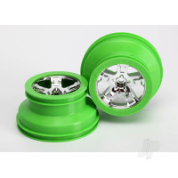 Wheels, SCT, chrome, green beadlock style, dual profile (2.2in outer, 3.0in inner) (2pcs) (2WD front only)