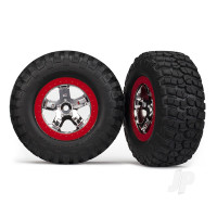 Tyres & wheels, assembled, glued (SCT chrome, red beadlock style wheels, BFGoodrich Mud-Terrain T / A KM2 Tyres, foam inserts) (2pcs) (4WD front & rear, 2WD rear only)