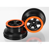 Wheels, SCT black, orange beadlock style, dual profile (2.2in outer, 3.0in inner) (2WD front) (2pcs)