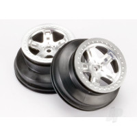 Wheels, SCT satin chrome, beadlock style, dual profile (2.2in outer, 3.0in inner) (4WD front & rear, 2WD rear only)