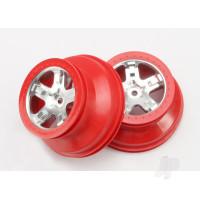 Wheels, SCT satin chrome, red beadlock style, dual profile (2.2in outer, 3.0in inner) (4WD front & rear, 2WD rear only) (2pcs)