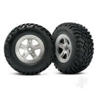 Tires & wheels, assembled, glued (SCT satin chrome, beadlock style wheels, SCT off-road racing tires, foam inserts) (2pcs) (4WD front & rear, 2WD rear only) (TSM rated)