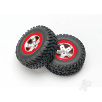 Tires & wheels, assembled, glued (SCT satin chrome, red-beadlock style wheels, SCT off-road tires, foam inserts) (2pcs) (4WD front & rear, 2WD rear only)