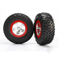 Tires & wheels, assembled, glued (SCT satin chrome red beadlock wheels, ultra-soft S1 compound off-road racing tires, inserts) (2pcs) (2WD rear, 4WD front & rear)