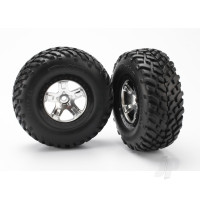 Tires & wheels, assembled, glued (SCT satin chrome, black beadlock style wheels, SCT off-road racing tires, foam inserts) (2pcs) (4WD front & rear, 2WD rear only)