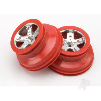 Wheels, SCT satin chrome, red beadlock style, dual profile (2.2in outer, 3.0in inner) (2WD front) (2pcs)