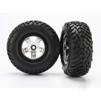 Tyres & wheels, assembled, glued (SCT satin chrome, black beadlock style wheels, SCT off-road racing Tyres, foam inserts) (2pcs) (2WD front)