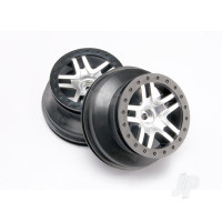 Wheels, SCT Split-Spoke, satin chrome, black beadlock style, dual profile (2.2in outer, 3.0in inner) (2WD front) (2pcs)