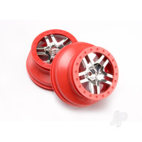 Wheels, SCT Split-Spoke, chrome, red beadlock style, dual profile (2.2in outer, 3.0in inner) (2WD front) (2pcs)