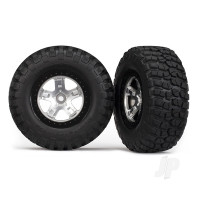Tyres & wheels, assembled, glued (SCT satin chrome, black beadlock style wheels, BFGoodrich Mud-Terrain T / A KM2 Tyres, foam inserts) (2pcs) (4WD front & rear, 2WD rear only)