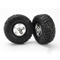 Tires & wheels, assembled, glued (SCT satin chrome, black beadlock style wheels, Kumho tires, foam inserts) (2pcs) (2WD front)