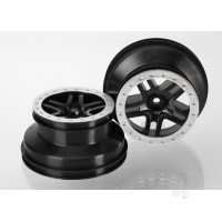 Wheels, SCT Split-Spoke, black, satin chrome beadlock style, dual profile (2.2in outer, 3.0in inner) (4WD front & rear, 2WD rear) (2pcs)