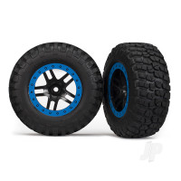 Tyre & wheel assy, glued (SCT Split-Spoke, black, blue beadlock wheels, BFGoodrich Mud-Terrain T / A KM2 Tyres, inserts) (2pcs) (2WD Front)