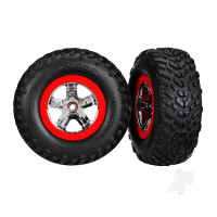 Tires & wheels, assembled, glued (SCT chrome wheels, red beadlock style, dual profile (2.2in outer, 3.0in inner), SCT off-road racing tires, foam inserts) (2pcs) (4WD front & rear, 2WD rear) (TSM rated)