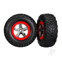 SCT Chome wheels & Tyres, Red beadlock (Pair)