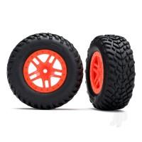 Tires & wheels, assembled, glued (SCT Split-Spoke orange wheels, SCT off-road racing tires, foam inserts) (2pcs) (4WD front & rear, 2WD rear) (TSM rated)
