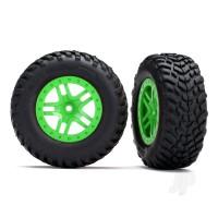 Tires & wheels, assembled, glued (SCT Split-Spoke green wheels, SCT off-road racing tires, foam inserts) (2pcs) (4WD front & rear, 2WD rear) (TSM rated)