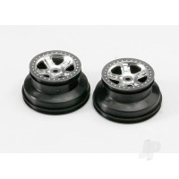 Wheels, SCT satin chrome, beadlock style, dual profile (2.2in outer, 3.0in inner) (2pcs)
