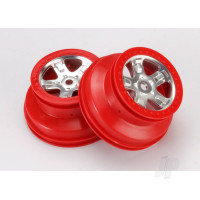 Wheels, SCT satin chrome with red beadlock, dual profile (2.2in outer, 3.0in inner) (2pcs)
