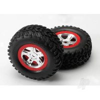 Tyres & Wheels, assembled, glued (SCT, satin chrome, red beadlock wheels, dual profile (2.2in outer, 3.0in inner), SCT off-road Tyres, foam inserts) (2pcs)