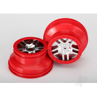 Wheels, SCT Split-Spoke, chrome, red beadlock style, dual profile (2.2in outer, 3.0in inner) (front & rear) (2pcs)