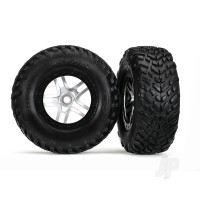 Tyres & Wheels, assembled, glued (S1 compound) (SCT Split-Spoke satin chrome, black beadlock style wheels, dual profile (2.2in outer, 3.0in inner), SCT off-road racing Tyres, foam inserts) (2pcs) (front & rear)