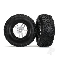 Tyres & Wheels, assembled, glued (SCT Split-Spoke satin chrome, black beadlock wheels, dual profile (2.2in outer, 3.0in inner), SCT off-road racing Tyres, foam inserts) (2pcs) (front & rear)