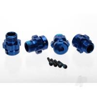 Wheel Hub, splined, 17mm, 6061-T6 aluminium (Blue-anodized) (4 pcs) / screw pin, 4x13mm ( with threadlock) (4 pcs) (for 6mm axles)