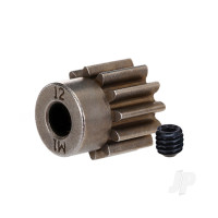 Gear, 12-T pinion (1.0 metric pitch) (fits 5mm shaft) / set screw (compatible with steel spur gears)