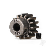 Gear, 15-T pinion (1.0 metric pitch) (fits 5mm shaft) / set screw (compatible with steel spur gears)