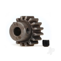 Gear, 16-T pinion (1.0 metric pitch) (fits 5mm shaft) / set screw (compatible with steel spur gears)