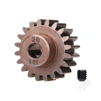 Gear, 20-T pinion (1.0 metric pitch) (fits 5mm shaft) / set screw (compatible with steel spur gears)