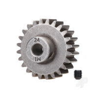 Gear, 24-T pinion (1.0 metric pitch) (fits 5mm shaft) / set screw (compatible with steel spur gears)