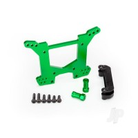 Shock tower, rear, 7075-T6 aluminium (green-anodized) (1pc) / body mount bracket (1pc)
