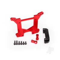 Shock tower, rear, 7075-T6 aluminium (red-anodized) (1pc) / body mount bracket (1pc)
