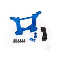 Shock tower, rear, 7075-T6 aluminium (blue-anodized) (1pc) / body mount bracket (1pc)