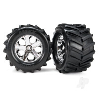 Tires and wheels, assembled, glued 2.8in (All-Star chrome wheels, Maxx tires, foam inserts) (2pcs)