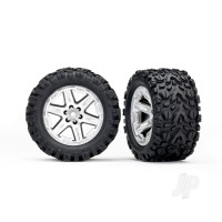 Tyres & Wheels, assembled, glued (2.8in) (RXT satin chrome wheels, Talon Extreme Tyres, foam inserts) (4WD electric front & rear, 2WD electric front only) (2pcs) (TSM rated)