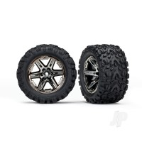 Tyres & Wheels, assembled, glued (2.8in) (RXT black chrome wheels, Talon Extreme Tyres, foam inserts) (4WD electric front & rear, 2WD electric front only) (2pcs) (TSM rated)