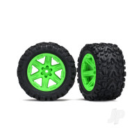 Tyres & wheels, assembled, glued (2.8in) (RXT green wheels, Talon Extreme Tyres, foam inserts) (2WD electric rear) (2pcs) (TSM rated)